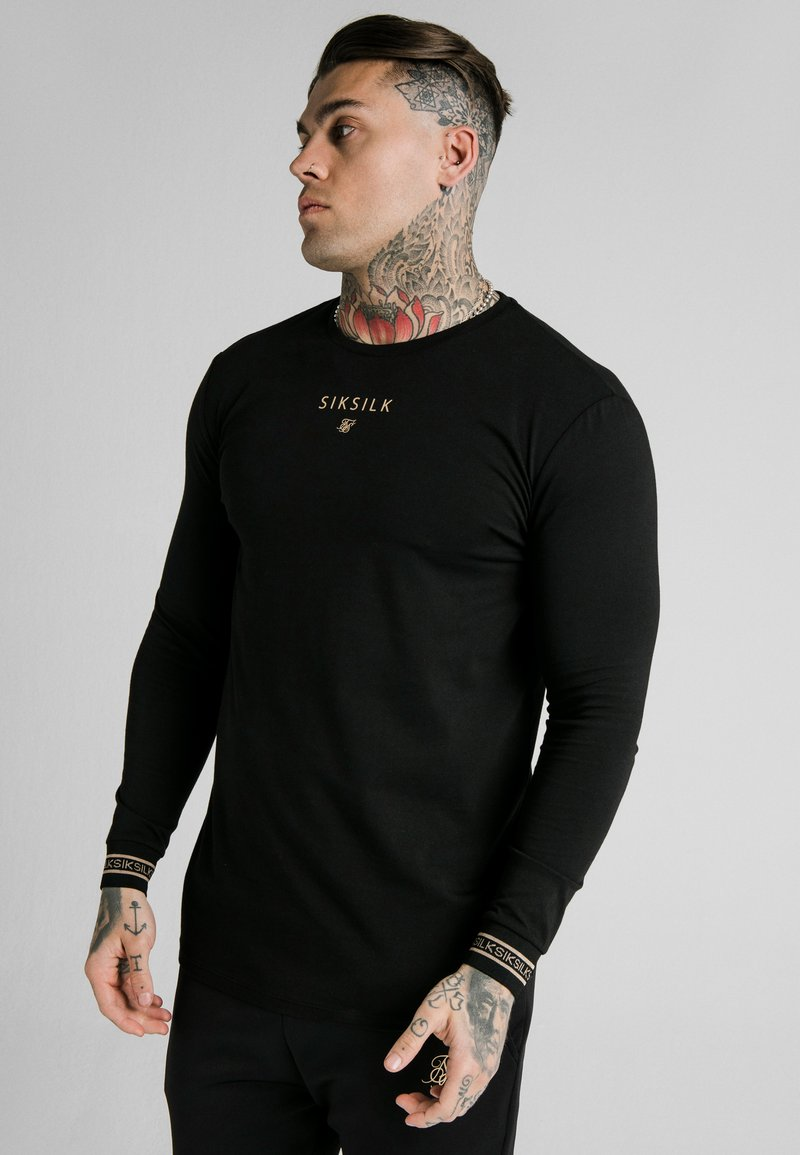 SIKSILK - ELEMENT GYM TEE - Long sleeved top - black/gold