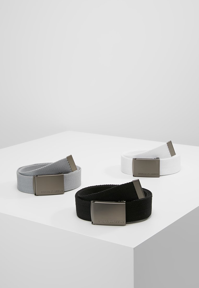 Urban Classics - 3 PACK - Belt - black/grey/white