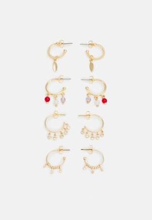 PCNOVI EARRINGS 4 PACK - Náušnice - gold-coloured
