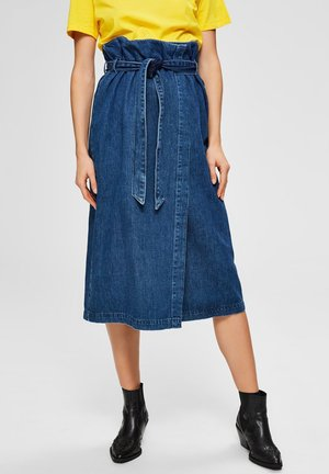 SELECTED FEMME JEANSROCK HIGH WAIST - A-line skirt - dark blue denim