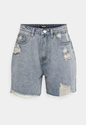 DISTRESS - Denim shorts - blue