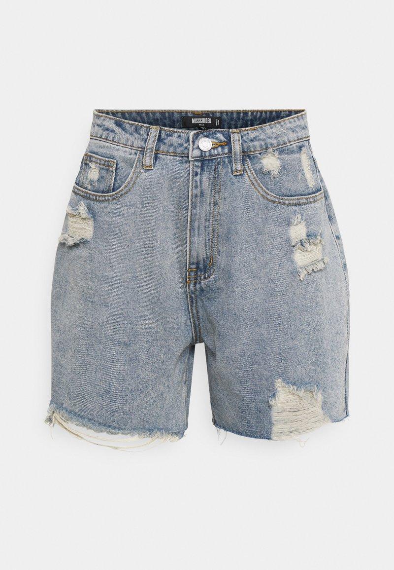 Missguided Tall - DISTRESS - Denim shorts - blue