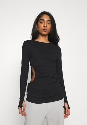 CUT OUT DETAIL DRAWSTRING - Long sleeved top - black