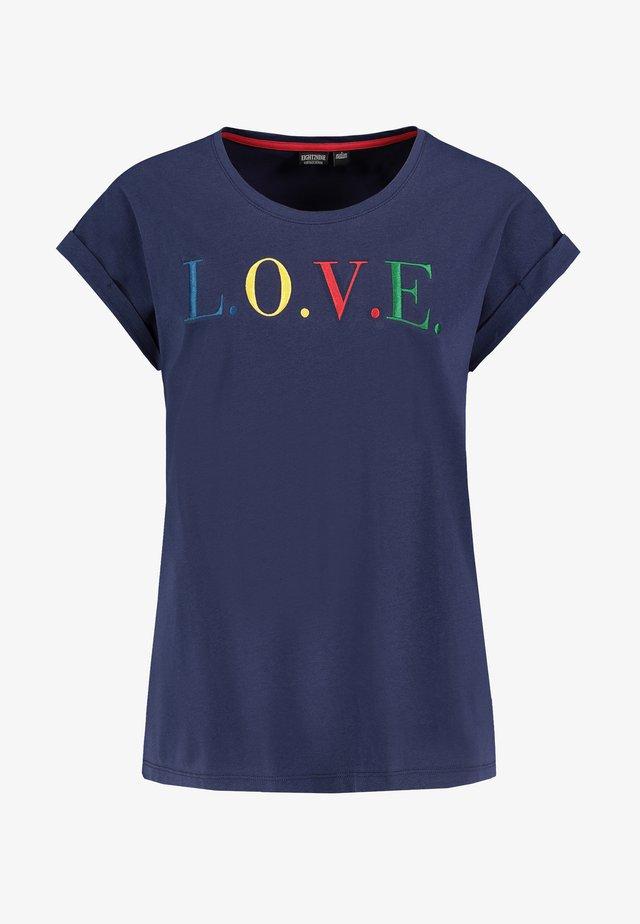 Print T-shirt - dark-blue