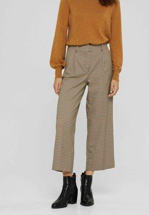 HAHNENTRITT MIX MIT WEITEM BEIN - Trousers - khaki beige