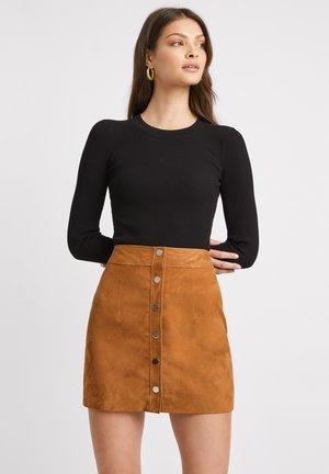Leather skirt - camel