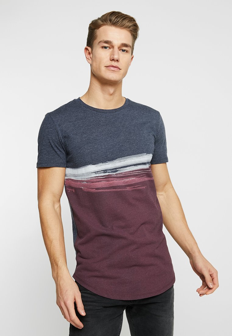 TOM TAILOR DENIM - Print T-shirt - deep burgundy red