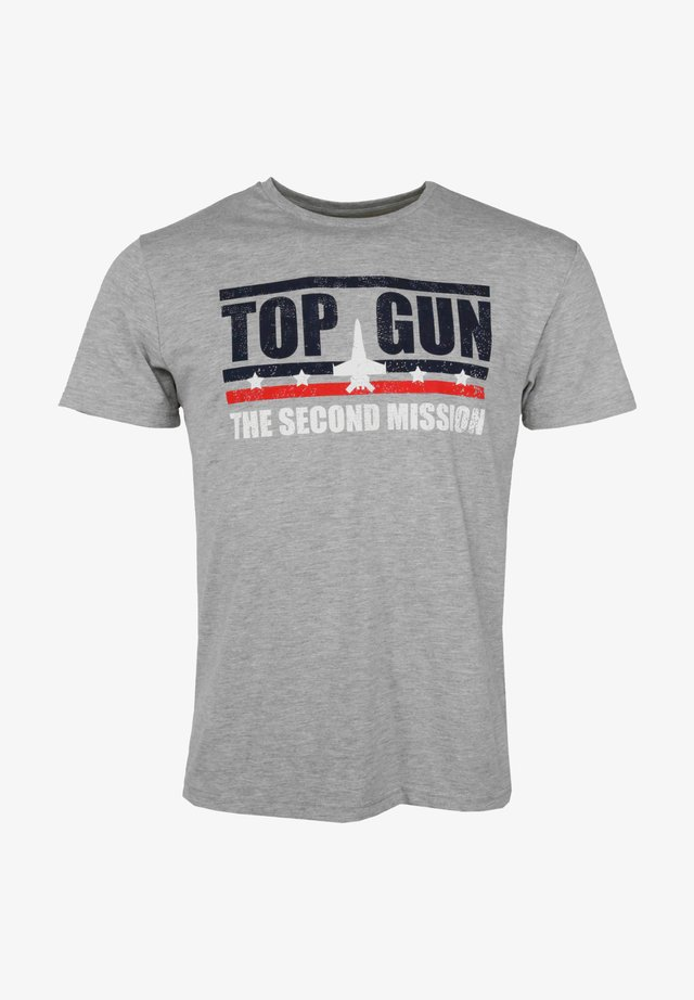 Print T-shirt - grey mélange