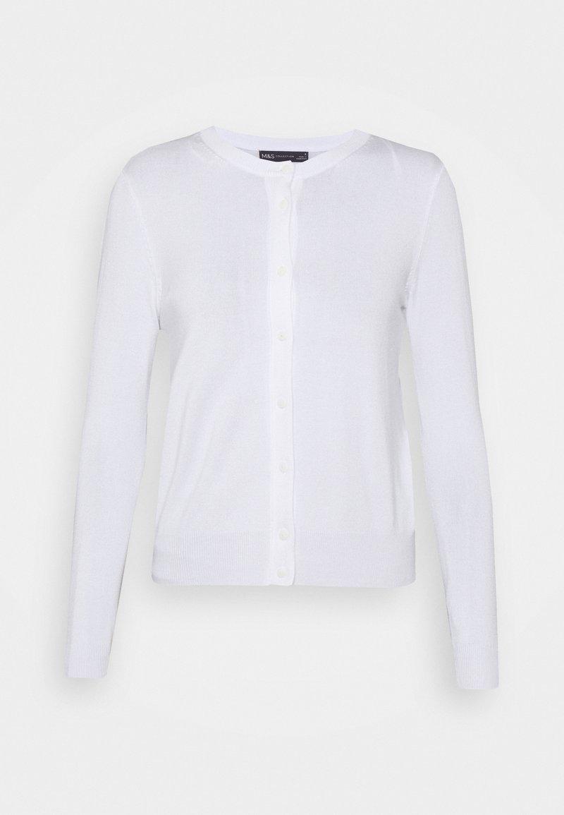 Marks & Spencer London - CREW CARDI PLAIN - Cardigan - white