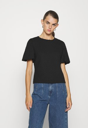 ONLRANDY PUFF SLEEVE - Print T-shirt - black