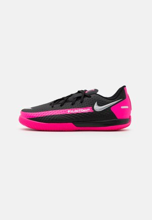 JR PHANTOM GT ACADEMY IC UNISEX - Indoor football boots - black/metallic silver/pink blast