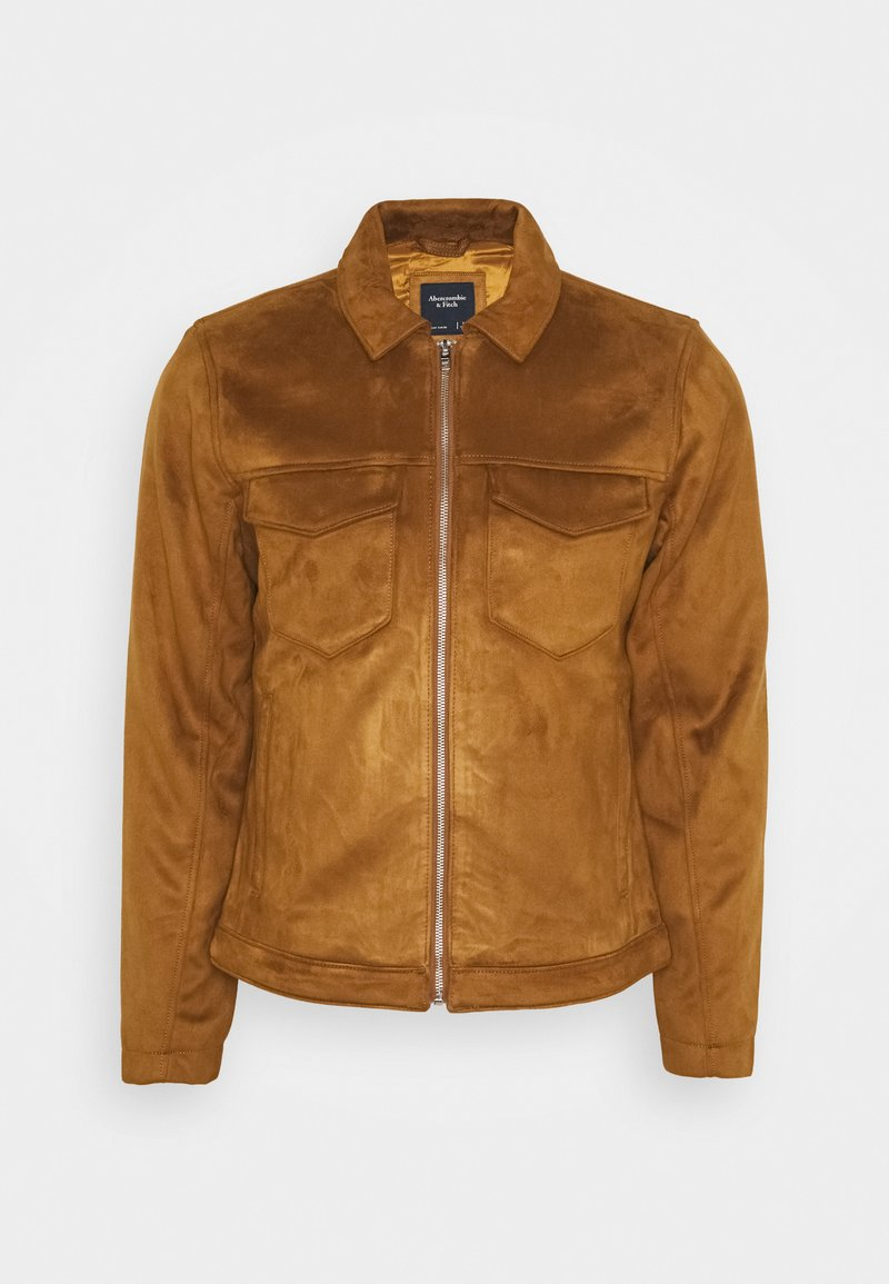 Abercrombie & Fitch - SUEDE ZIP TRUCKER  - Faux leather jacket - cognac