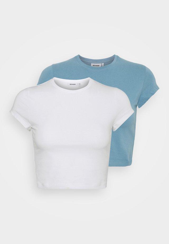 SABRA2 PACK - Basic T-shirt - white/blue