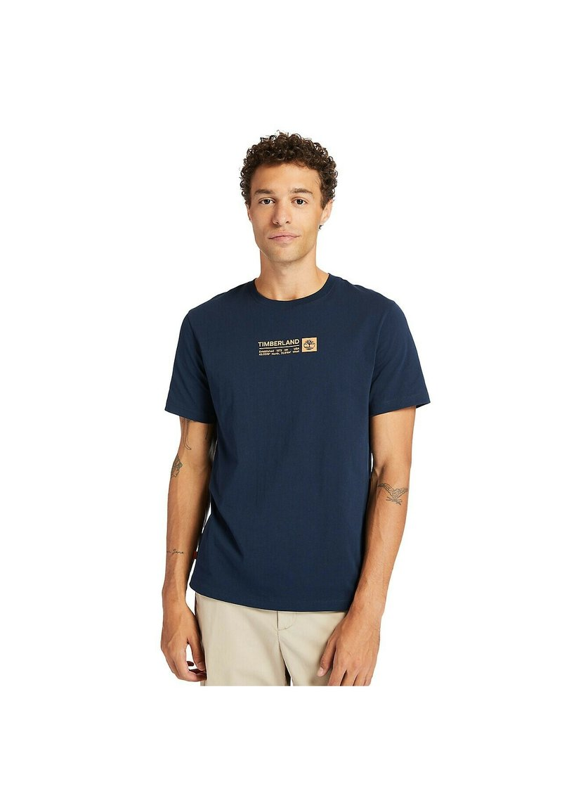 Timberland - BRAND CARRIER - Print T-shirt - dark sapphire