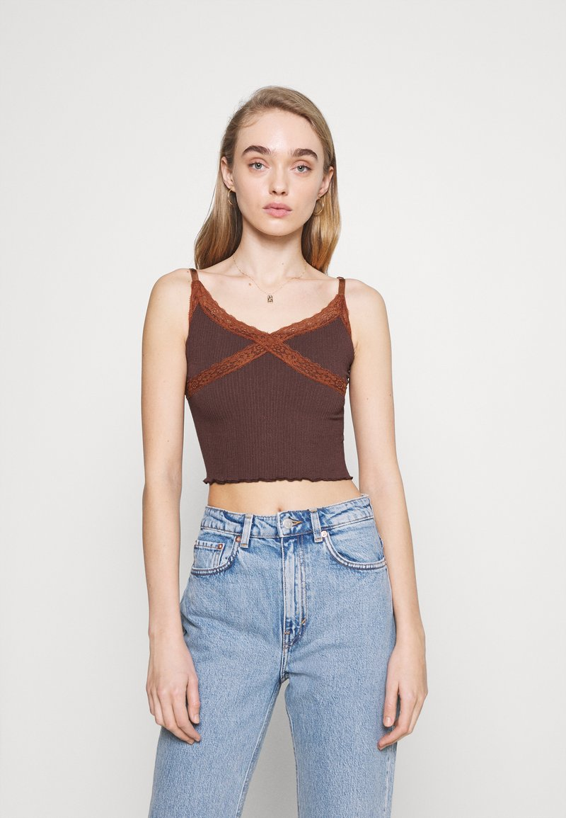 BDG Urban Outfitters - CROSS CAMI - Topper - chocolate