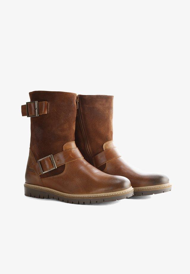 I.JONES - Cowboy/biker ankle boot - cognac