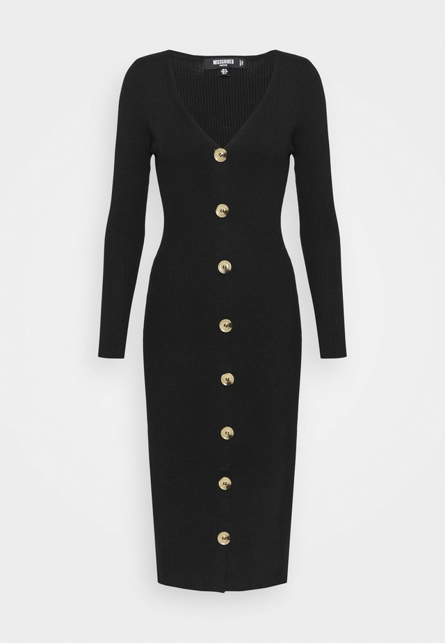 BUTTON FRONT DRESS - Tubino - black