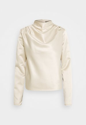 DRAPE NECK LONG SLEEVE BLOUSE - Blouse - nude