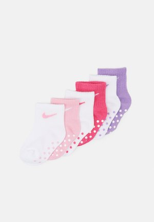 POP COLOR GRIPPER INFANT TODDLER ANKLE 6 PACK - Ponožky - pink