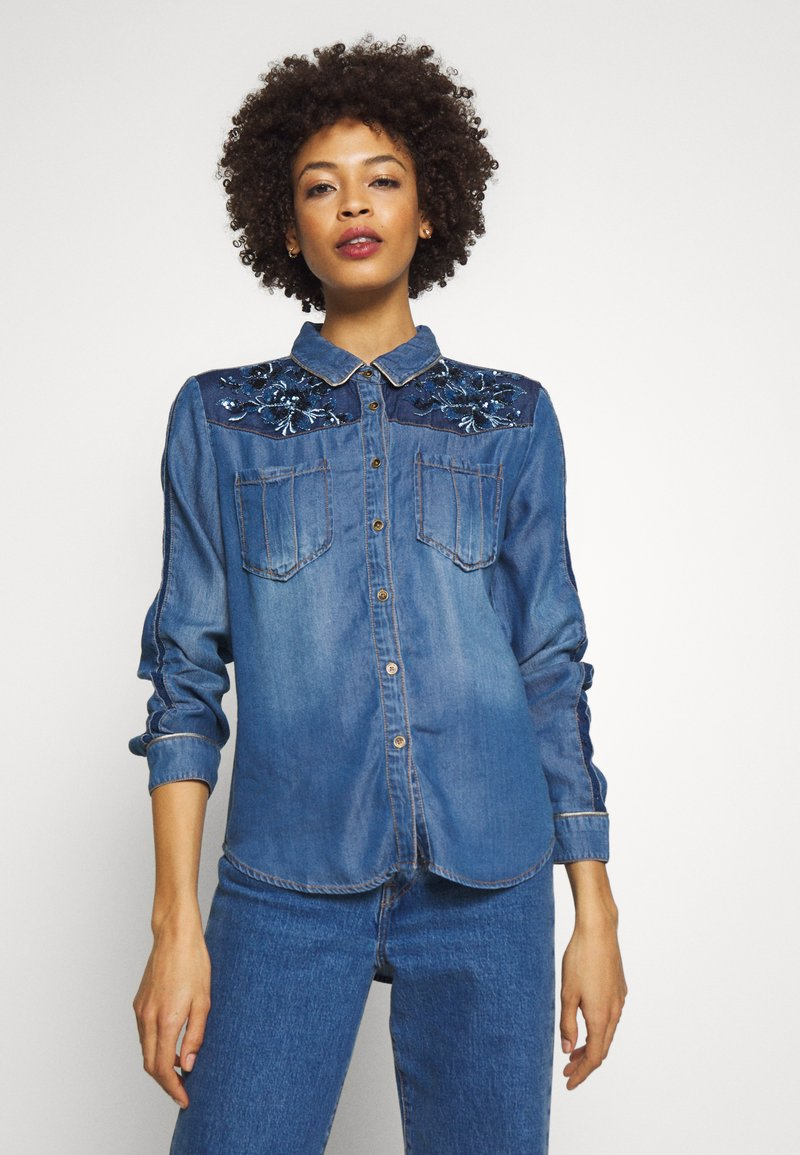 Desigual - CAM FLOWINGS - Blouse - denim medium wash