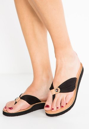 LEATHER FOOTBED BEACH SANDAL - T-bar sandals - black