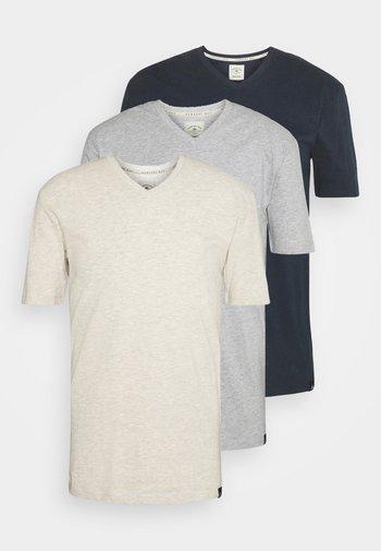V NECK 3 PACK - T-paita - navy/grey marl/off white
