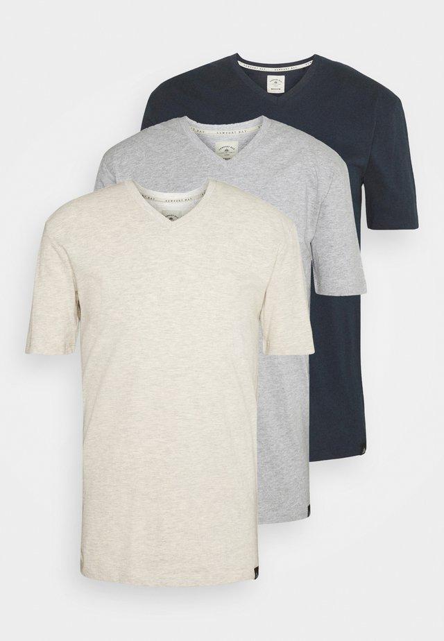 V NECK 3 PACK - T-shirt basic - navy/grey marl/off white