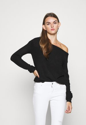 OPHELITA OFF SHOULDER JUMPER - Trui - black
