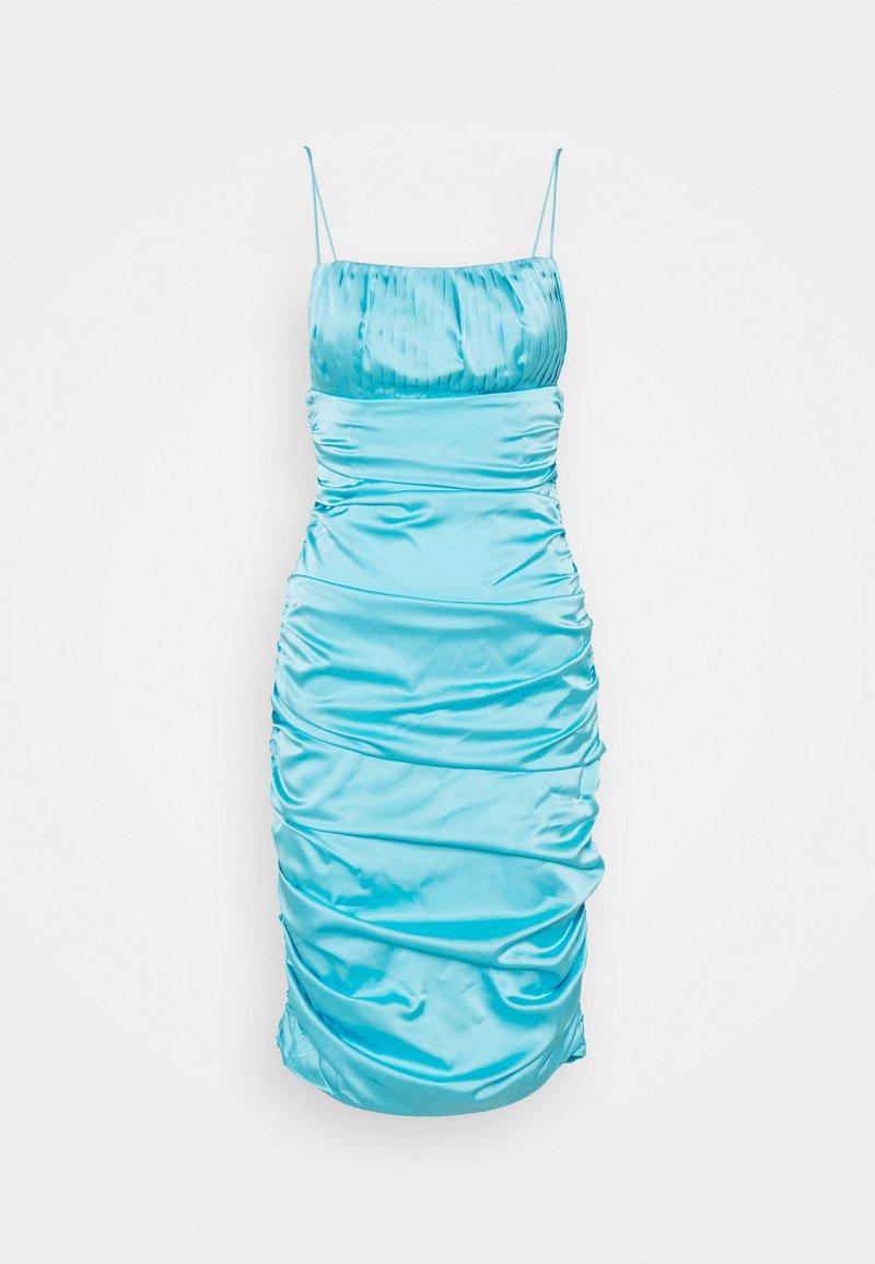 Missguided - PLEAT DETAIL STRAPPY BODYCON MIDI DRESS - Cocktailkjole - blue