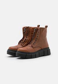 Mis Pepas - ZIPPER - Platform ankle boots - atenea tobaco - 2