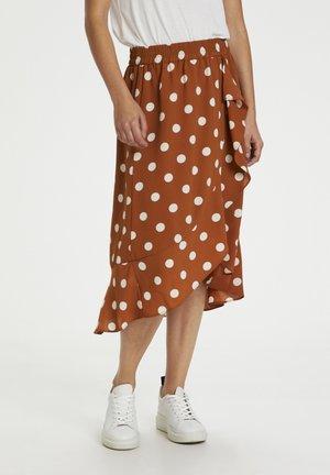 A-line skirt - roasted pecan polka dot