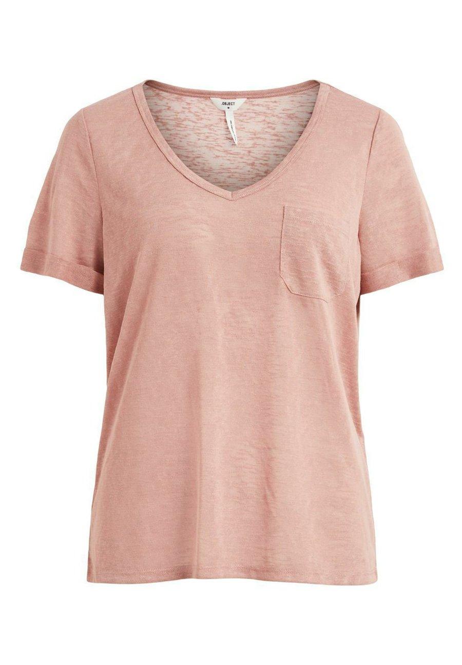 Damen OBJTESSI SLUB V NECK - T-Shirt basic