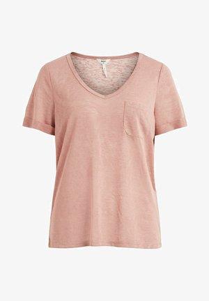 OBJTESSI SLUB V NECK - Basic T-shirt - ash rose