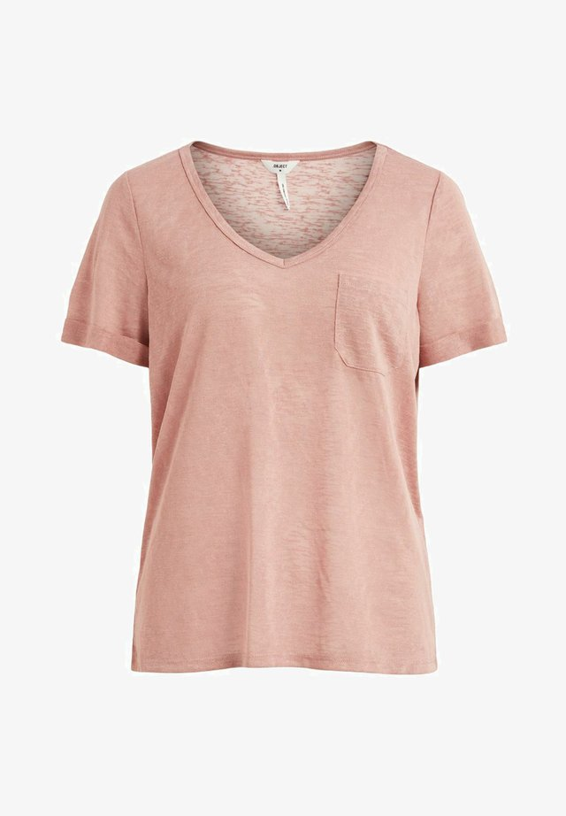 OBJTESSI SLUB V NECK - T-shirt basique - ash rose