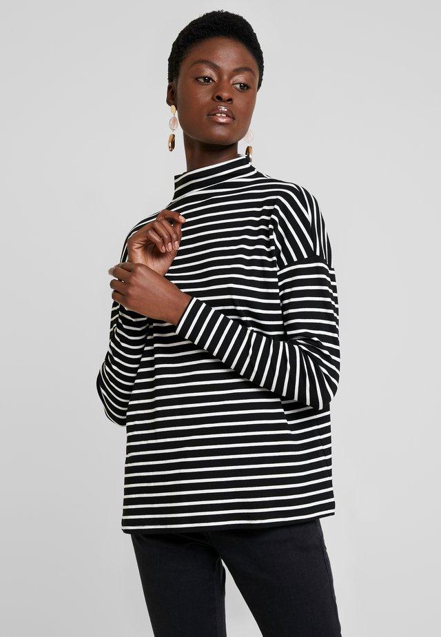 KALIDDY HIGH NECK - Long sleeved top - black deep/chalk