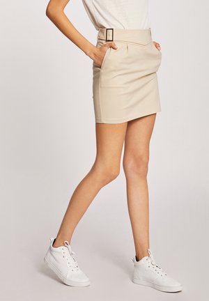 WITH BUCKLES - Pencil skirt - beige