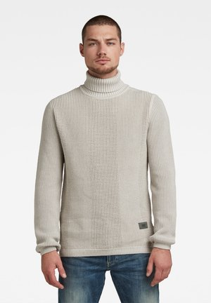 STRUCTURED TURTLENECK KNITTED - Strickpullover - whitebait/charcoal