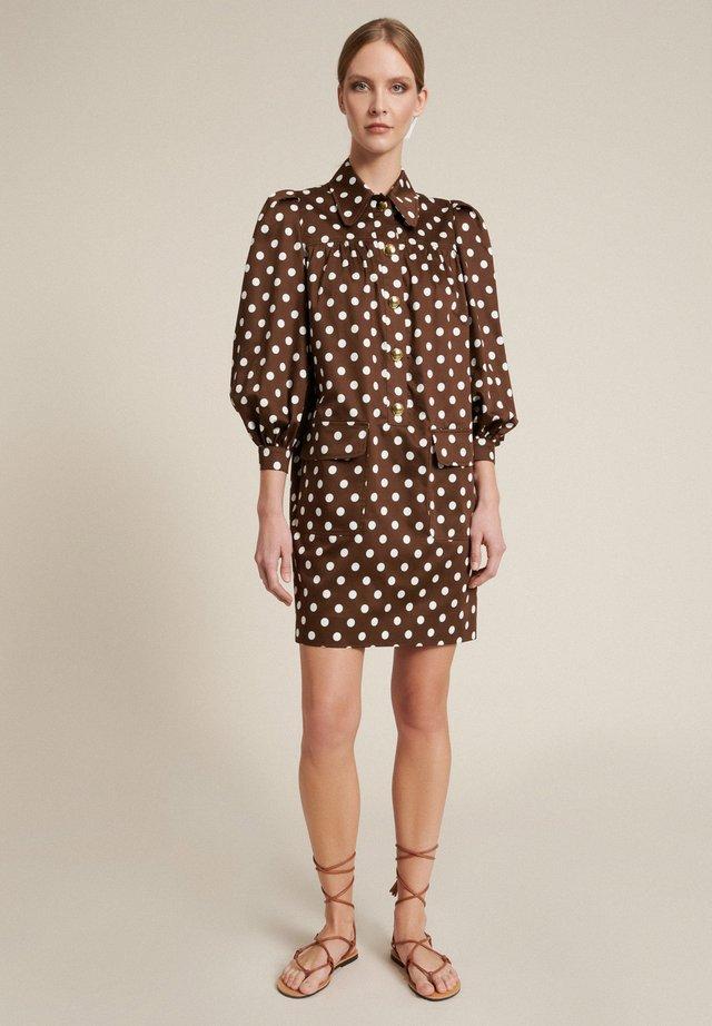Shirt dress - marrone-pois panna