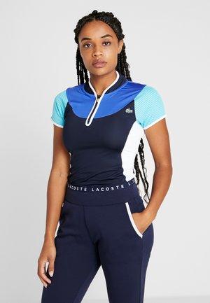 TENNIS SHIRT - Triko spotiskem - navy blue/haiti blue/white/lemon