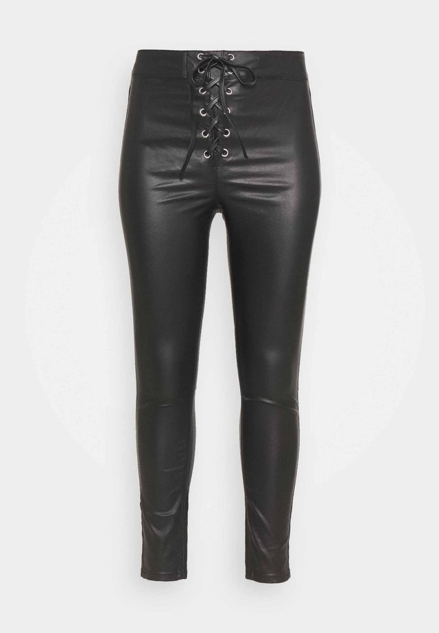 COATED CORSET DETAIL - Jeansy Skinny Fit - black