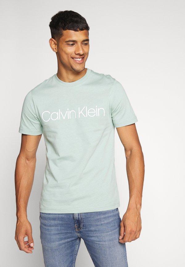 Calvin Klein FRONT LOGO - T-shirt z nadrukiem - green/jasnozielony Odzież Męska LHXQ