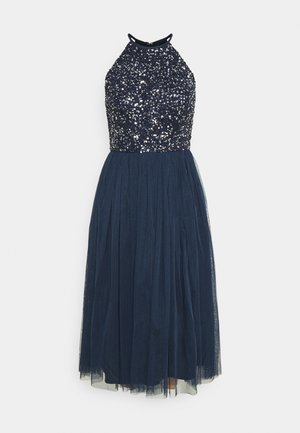 DELICATE SEQUIN HALTER NECK DRESS - Vestido de cóctel - navy