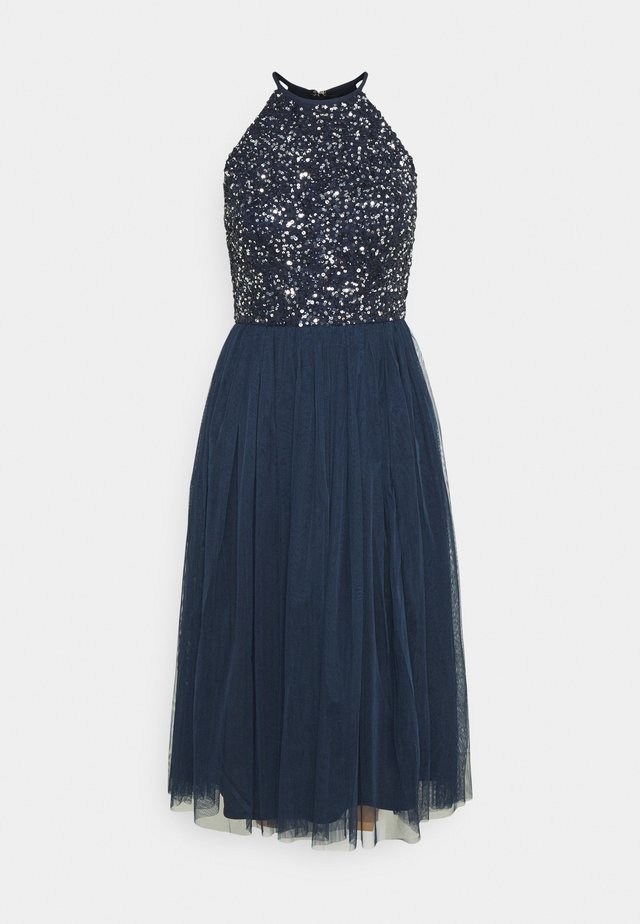 DELICATE SEQUIN HALTER NECK DRESS - Cocktailjurk - navy