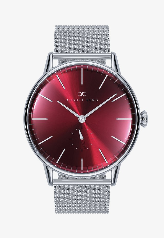 UHR SERENITY BURGUNDY SILVER EYE SILVER MESH 40MM - Orologio - sunray red