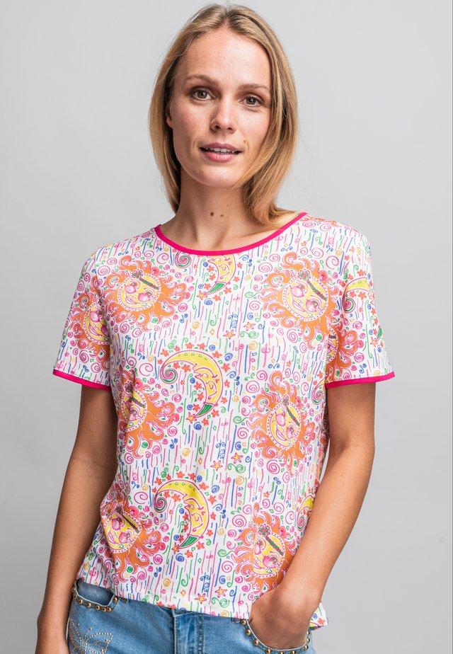 T-shirt imprimé - orange/white