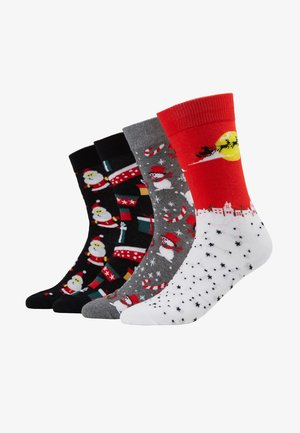 JACLAND AND SNOW 4 PACK - Socks - black/ light grey melange