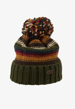 HARROW STRIPE BEANIE - Čepice - olive mix