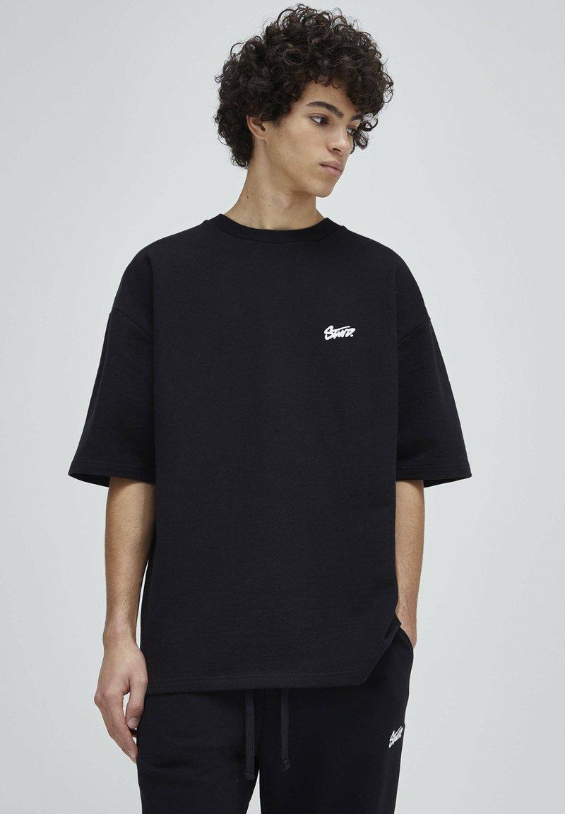 PULL&BEAR - Print T-shirt - mottled dark grey