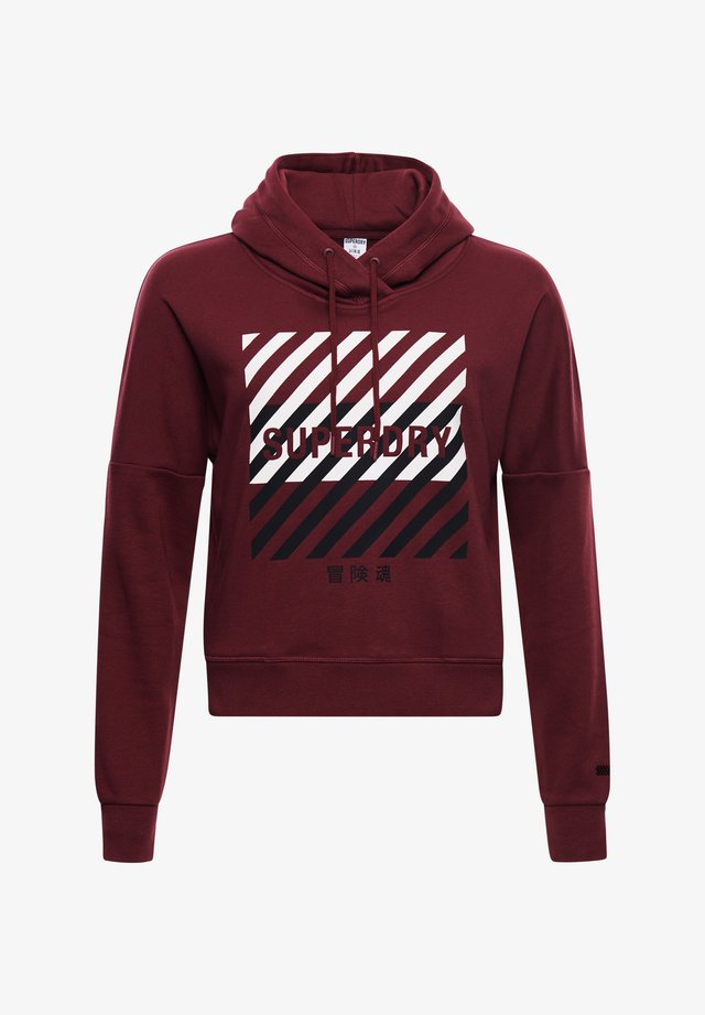 TRAINING CORE SPORT CROP  - Sweat à capuche - claret
