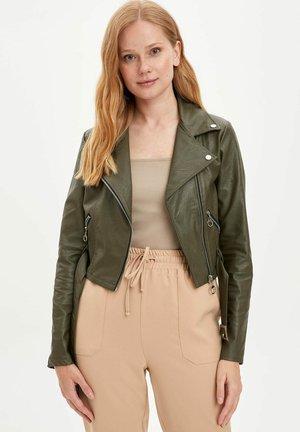 Faux leather jacket - khaki